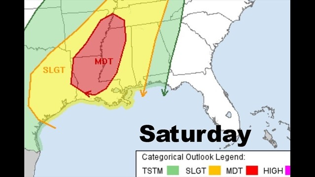 Saturday's Severe Weather Risk Area Expanded