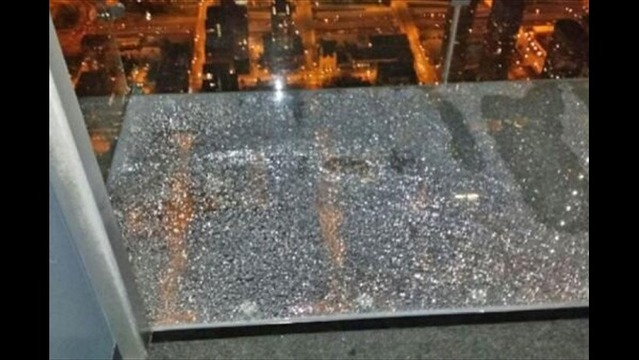Famous Glass Tourist Attraction Cracks 103 Stories Above Chicago