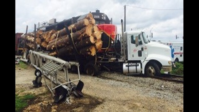 Log Truck Hit by Train in Monticello
