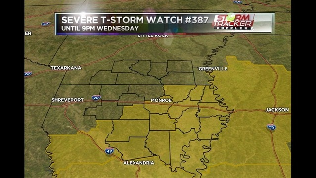 Severe Thunderstorm Watch #387 for parts of the ArkLaMiss