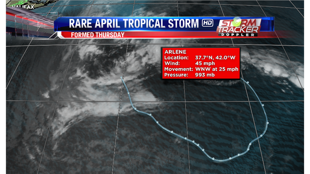 Rare April tropical storm forms in the Atlantic; storm named 'Arlene'