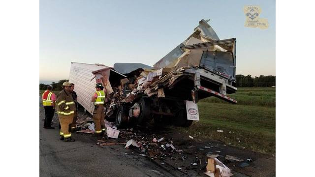 State Police work to clear accident involving two 18-wheelers
