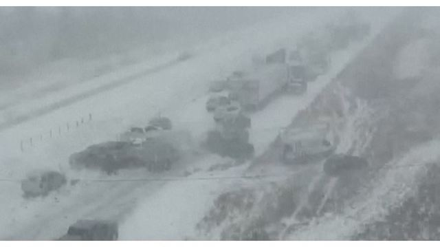 CAUGHT ON CAMERA: 70 car pileup on snow covered interstate