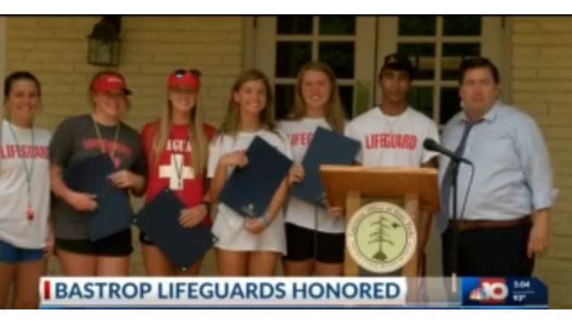 Bastrop lifeguards recognized for saving a young child's life