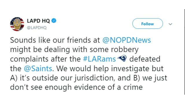 New Orleans, Los Angeles Police trade jabs on Twitter after Saints missed call